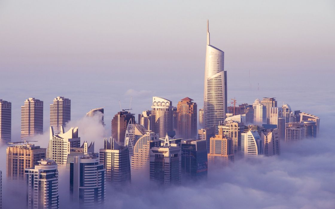 Buildings Skyscrapers Fog Mist    f wallpaper