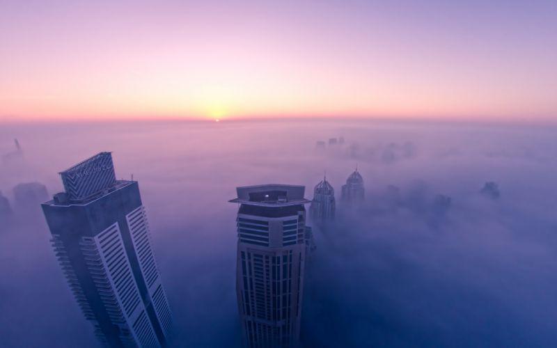 Buildings Skyscrapers Fog Mist Sunset wallpaper