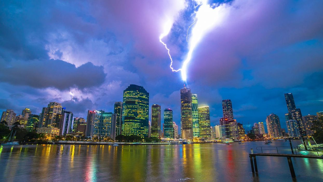 Buildings Skyscrapers Lightning Storm Stop Action Clouds wallpaper