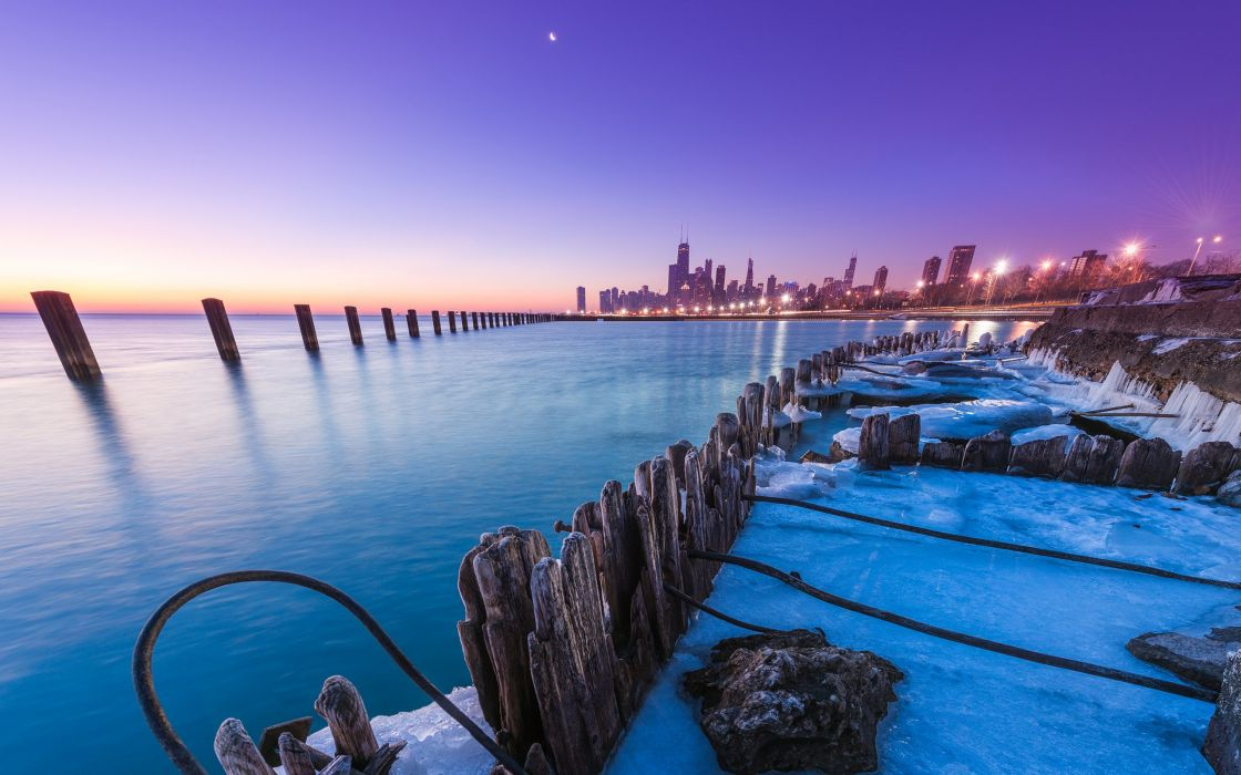 Chicago Buildings Skyscrapers Posts Ice Winter Sunset wallpaper
