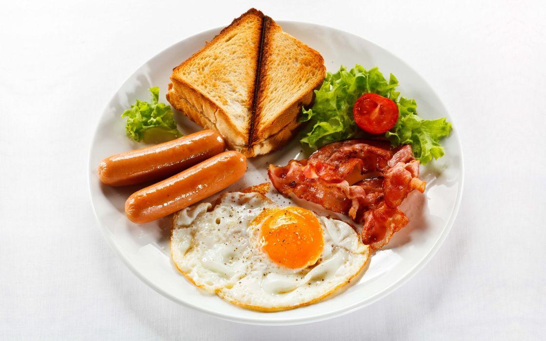 Egg Sausage Breakfast Toast Bacon Lettuce White wallpaper