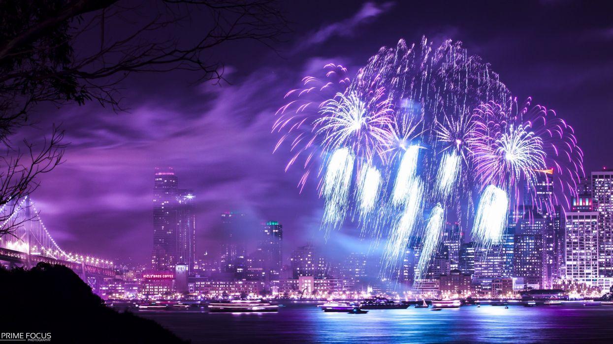 Fireworks Night Purple Timelapse Buildings Skyscrapers wallpaper