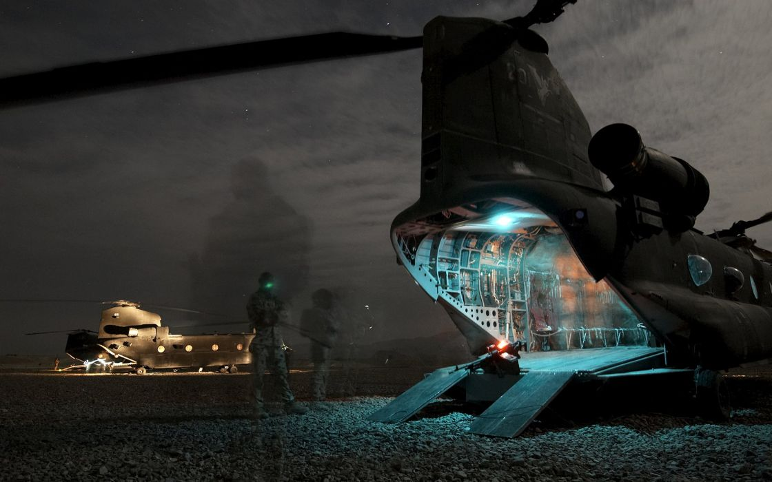 Helicopter Night Timelapse Stars Soldier military wallpaper