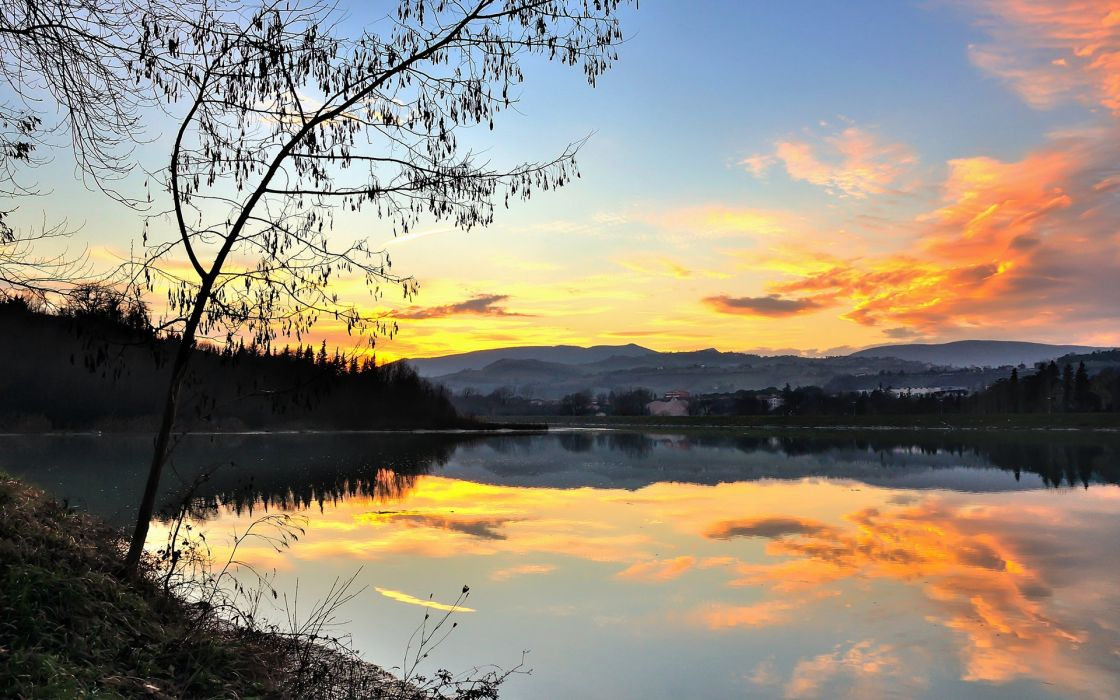 Lake Reflection Landscape Tree Sunset wallpaper
