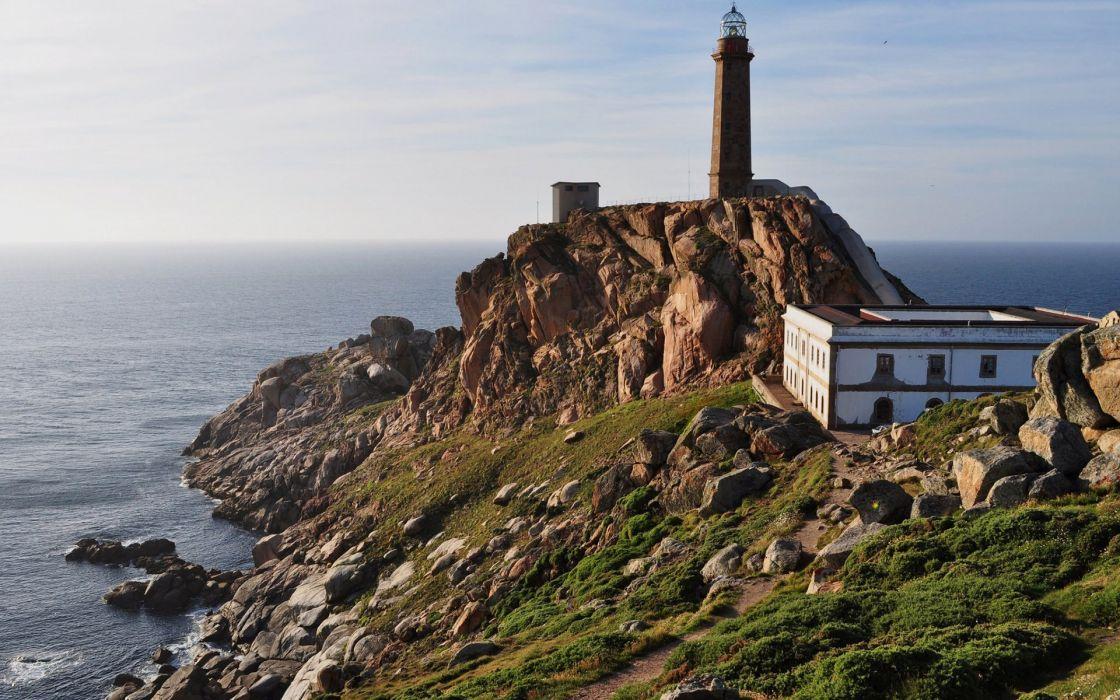 Lighthouse Coast Ocean Rocks Stones wallpaper