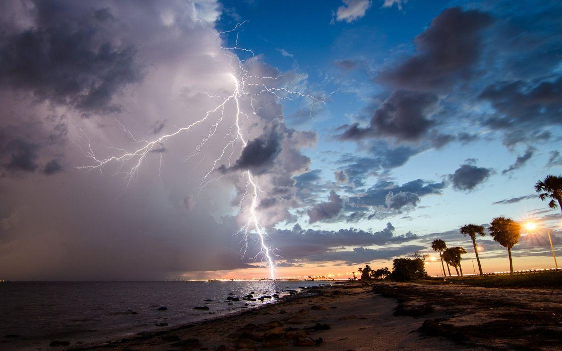 Lightning Clouds Storm Beach    f wallpaper