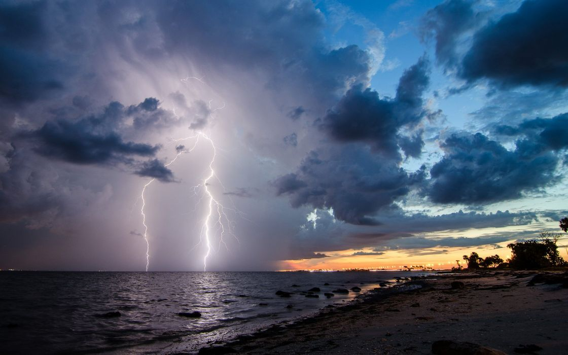 Lightning Clouds Storm Beach wallpaper