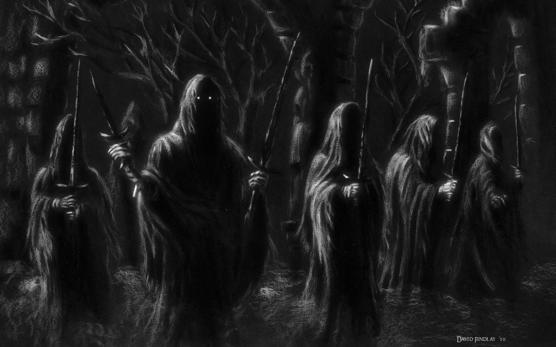 Lord of the Rings Ringwraith BW Sword Hood dark reaper wallpaper