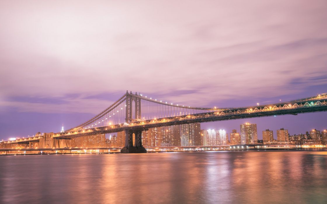 Manhattan Bridge Bridge New York Buildings Night Lights River wallpaper