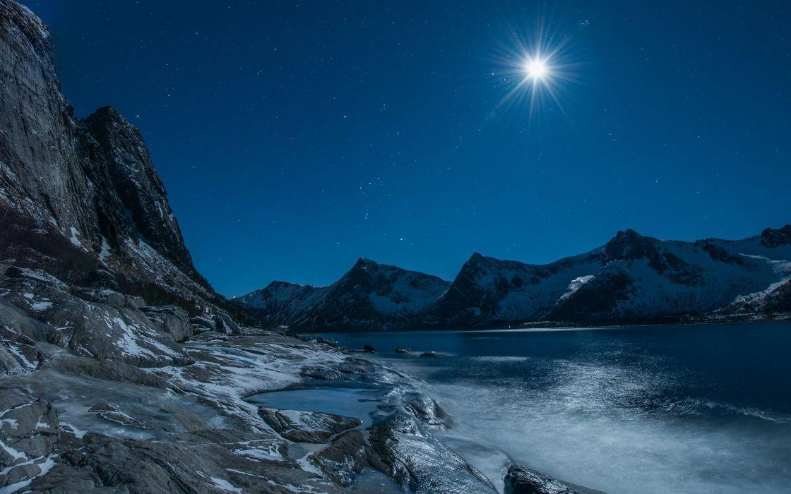 Moonlight Mountains Landscape Lake Stars wallpaper