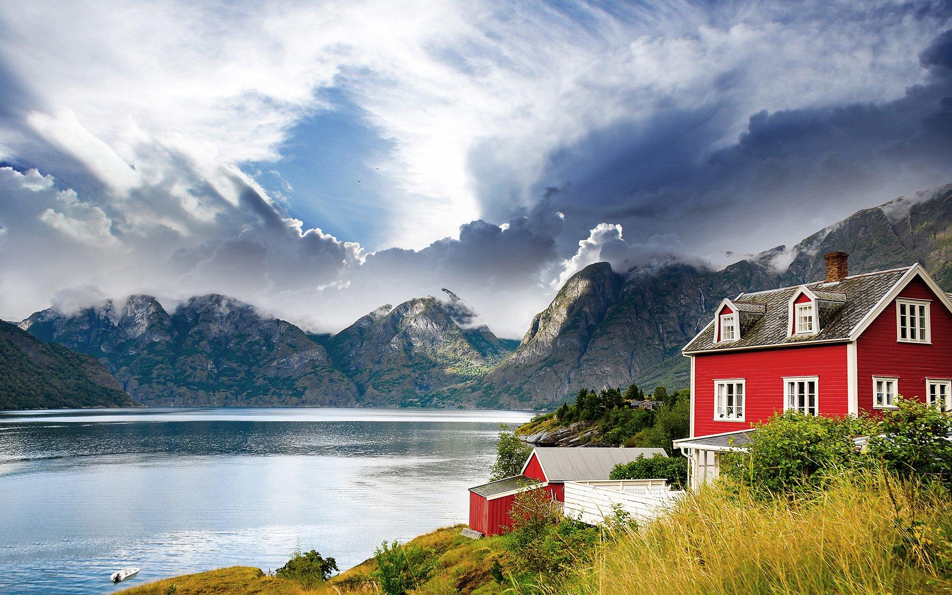 mountains landscape house clouds lake wallpaper