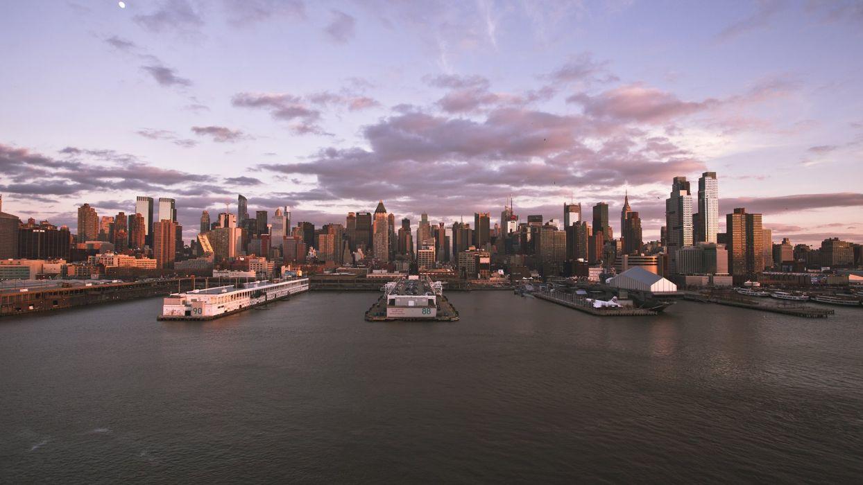 New York Buildings Skyscrapers Harbor wallpaper