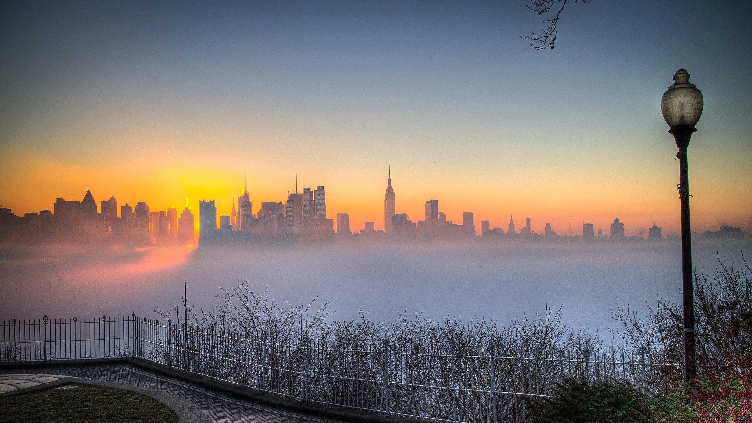 New York Buildings Skyscrapers Fog Mist Sunset Wallpaper