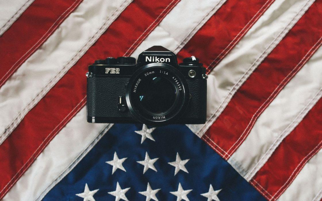 Nikon Camera American Flag Flag DSLR wallpaper