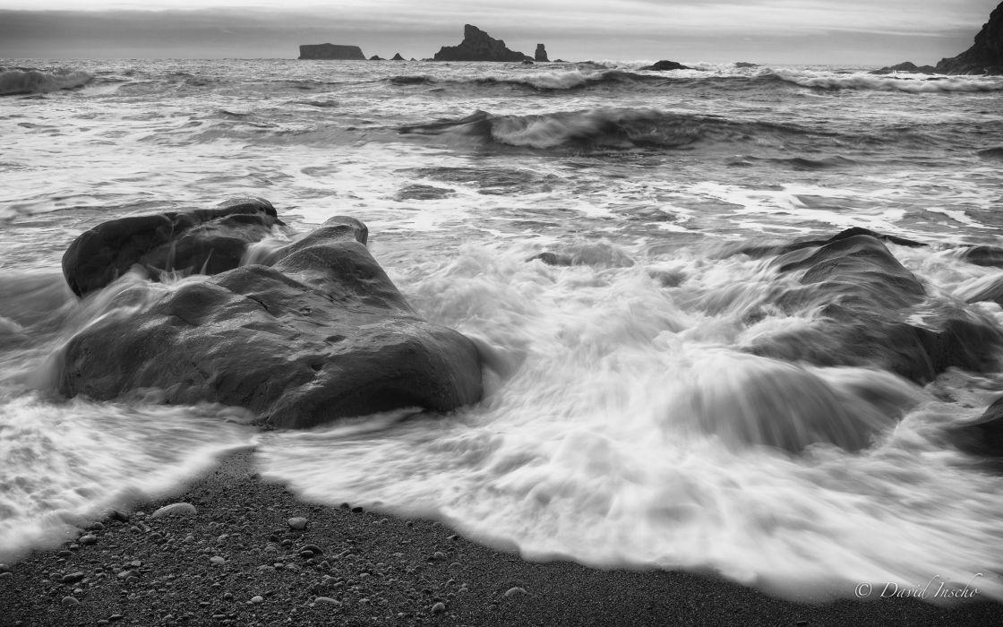 Ocean Rocks beach Stones BW wallpaper