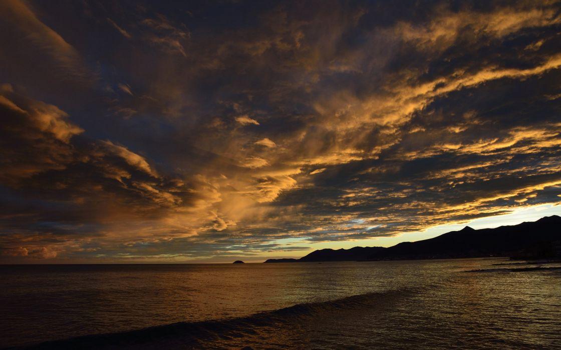 Ocean Sunset Clouds wallpaper