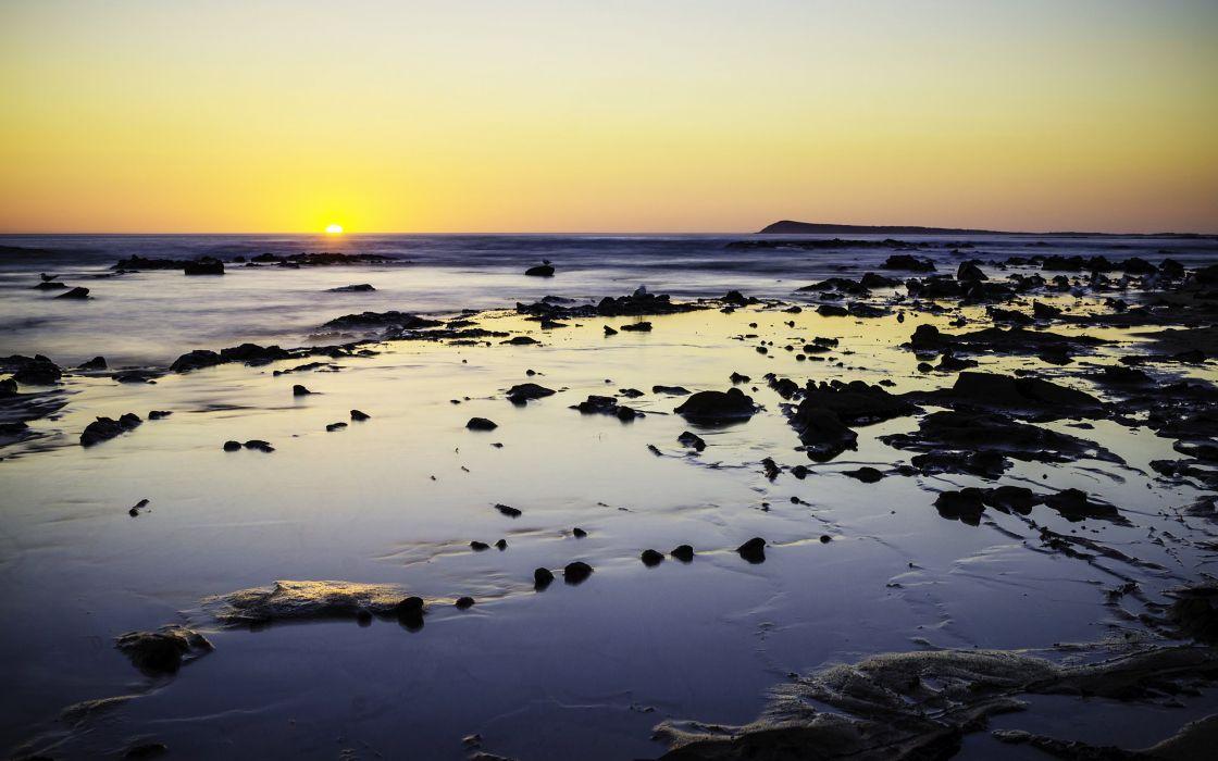 Ocean Sunset Rocks Stones wallpaper