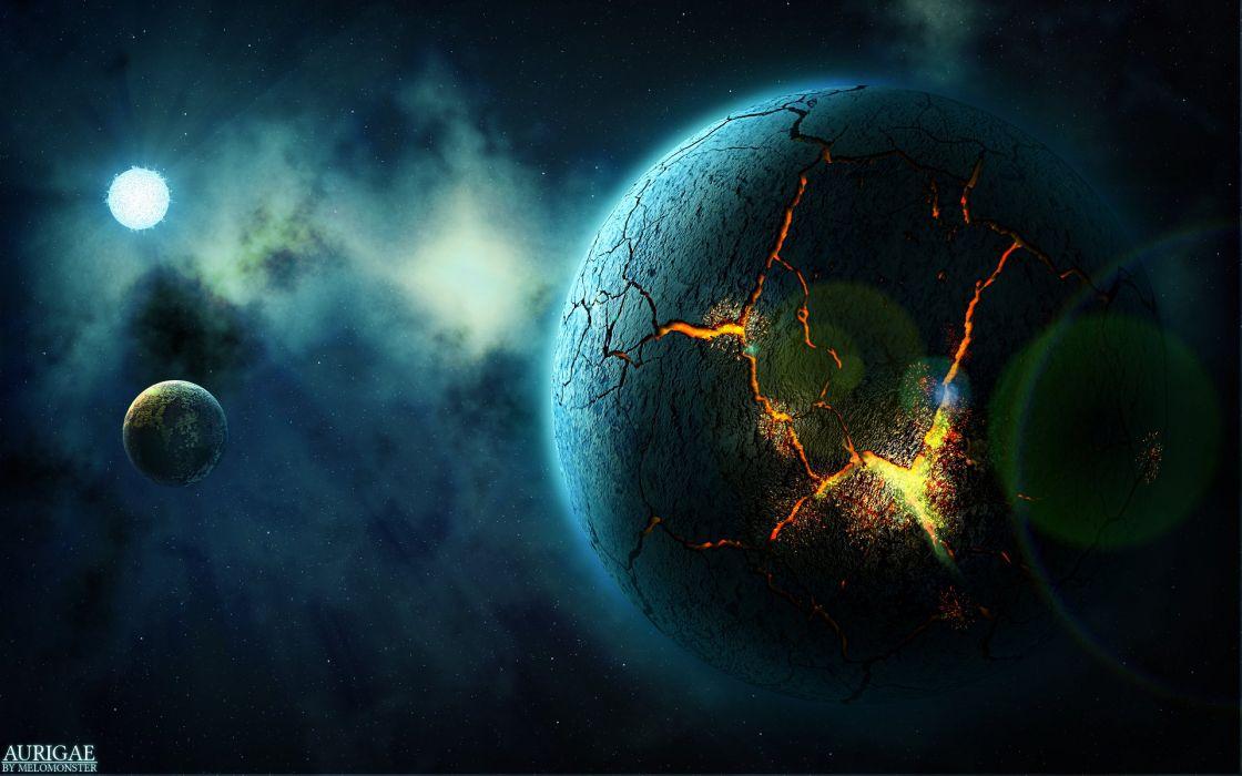 Planet Cracked Starlight Stars wallpaper