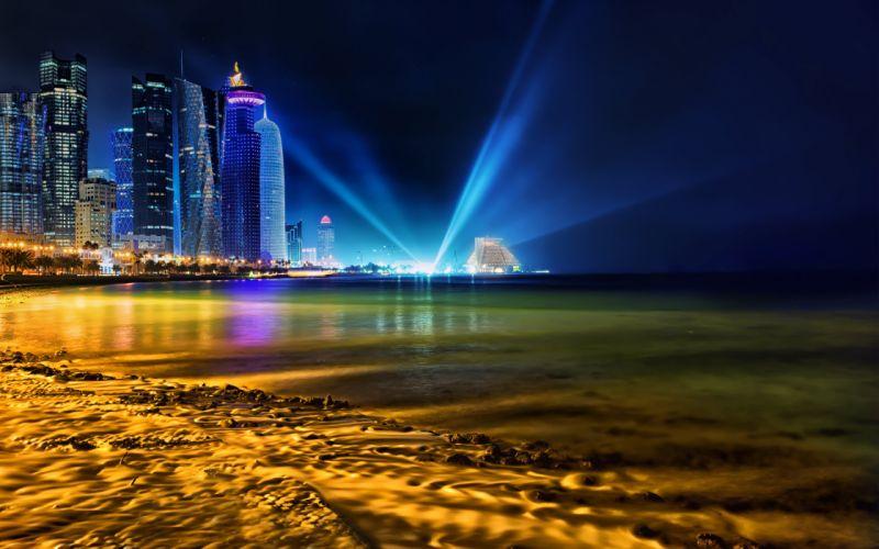 Qatar Buildings Skyscrapers Night Beach Ocean Lights wallpaper
