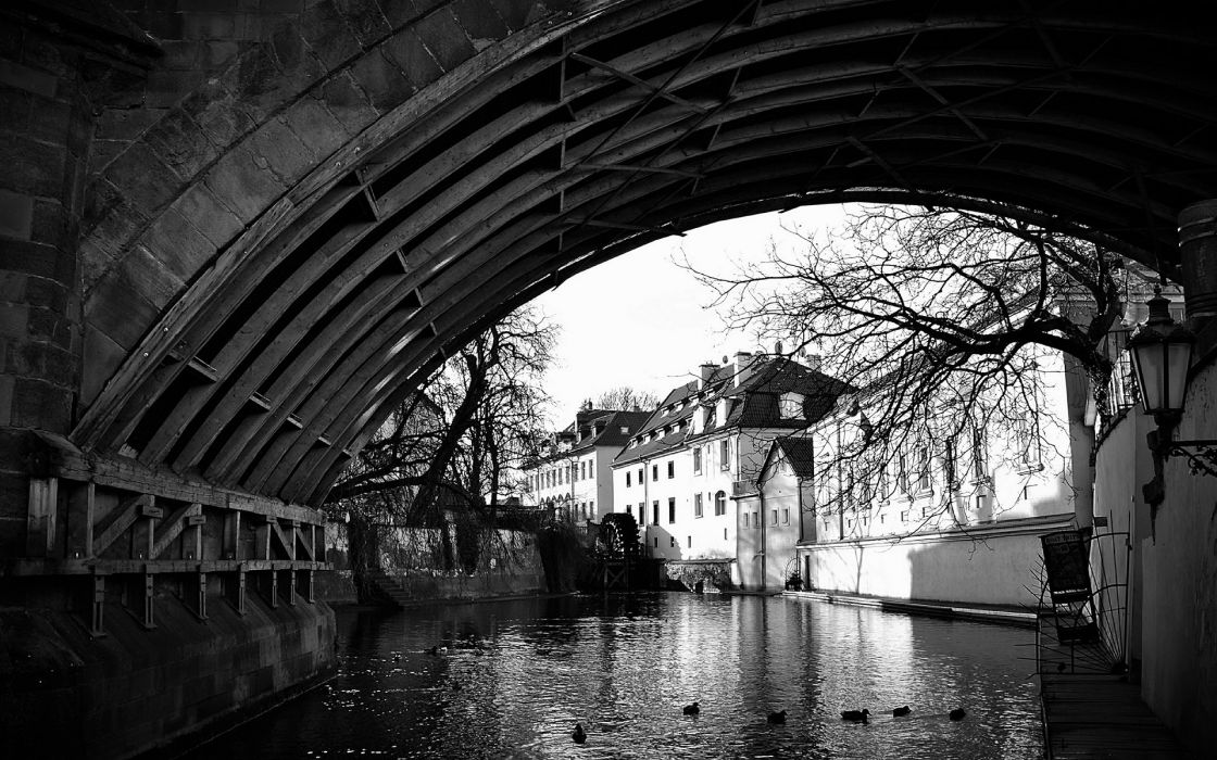 River Bridge Arch Buildings BW wallpaper
