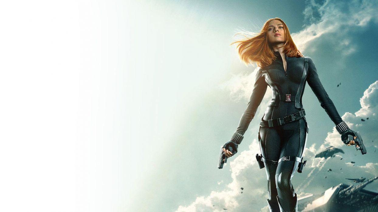 Scarlett Johansson Redhead Captain America Winter Soldier Handgun Black Widow wallpaper