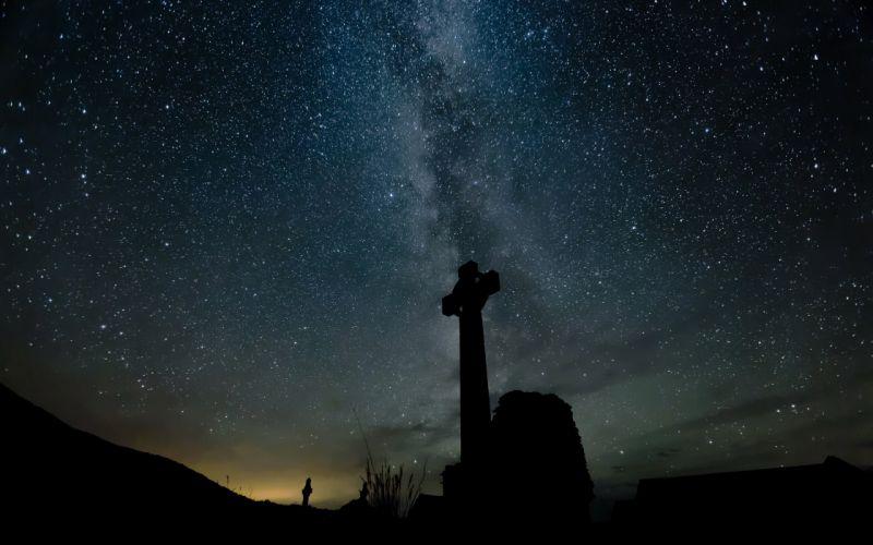 Stars Night Cross Galaxy Milky Way wallpaper