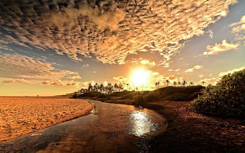 Sunlight Beach River Clouds wallpaper