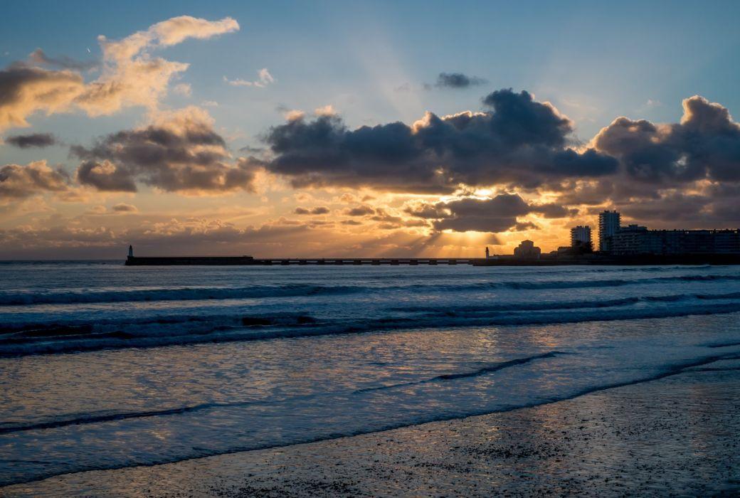 Sunlight Clouds Ocean Beach wallpaper