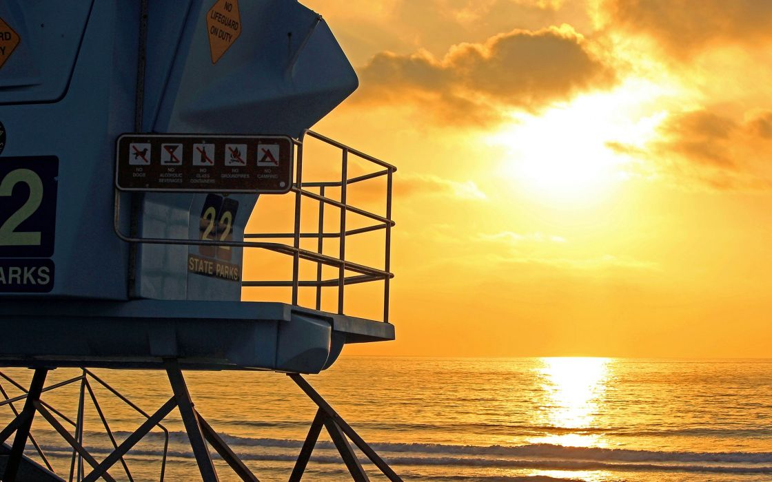 Tower Sunlight Ocean Beach Lifeguard wallpaper