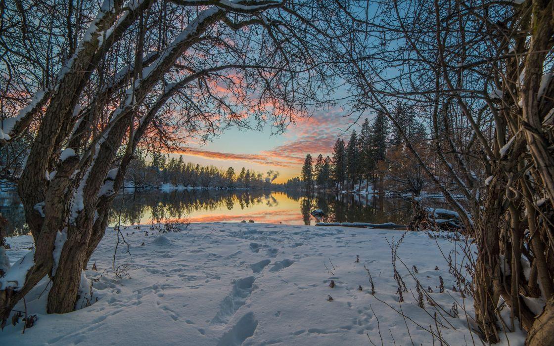 Trees Snow Winter Lake Reflection Sunset wallpaper