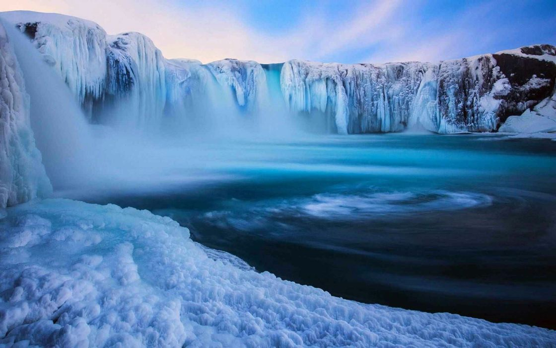 Waterfall Ice winter snow wallpaper