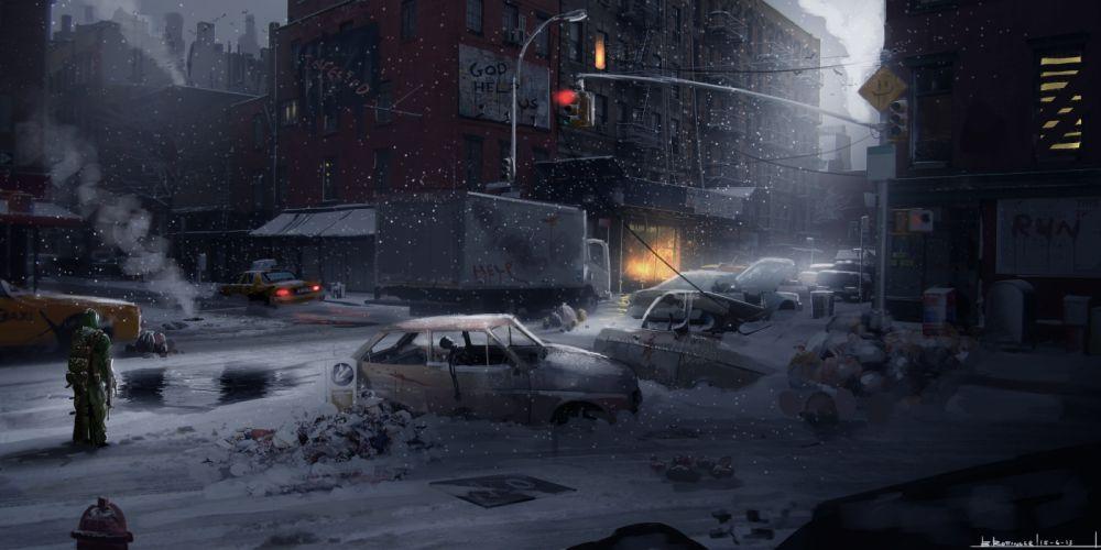 Fantastic world Apocalyptic sci-fi dark city wallpaper