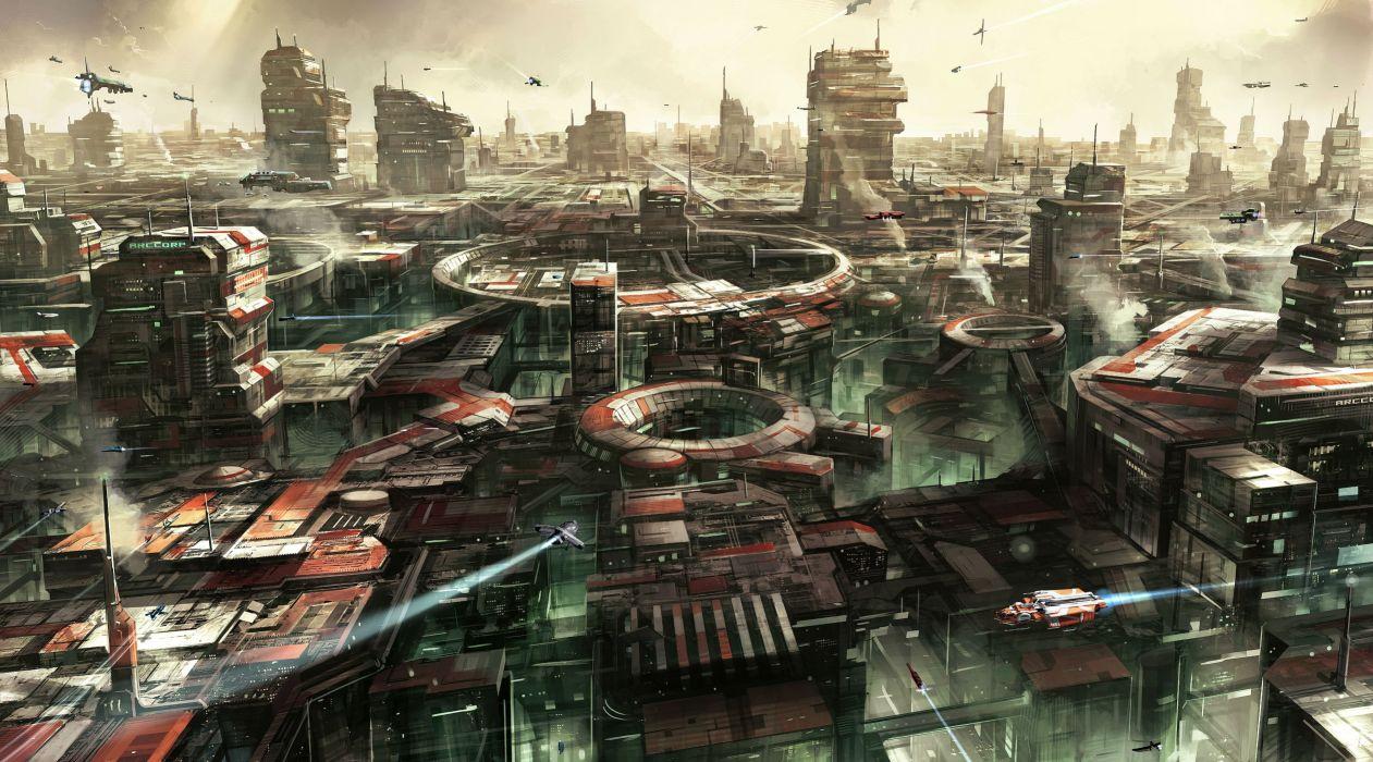 city spaceship futuristic wallpaper