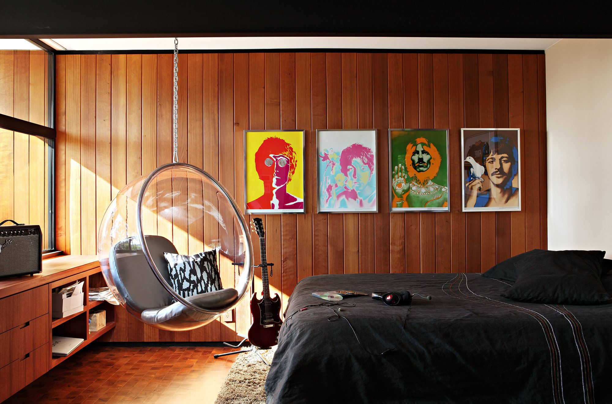 Bed Interior Chair Bedroom Design Room Beatles Wallpaper