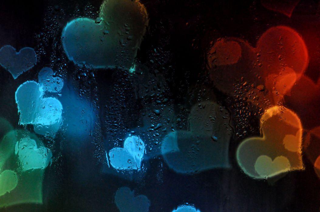 heart glass drops bokeh mood wallpaper