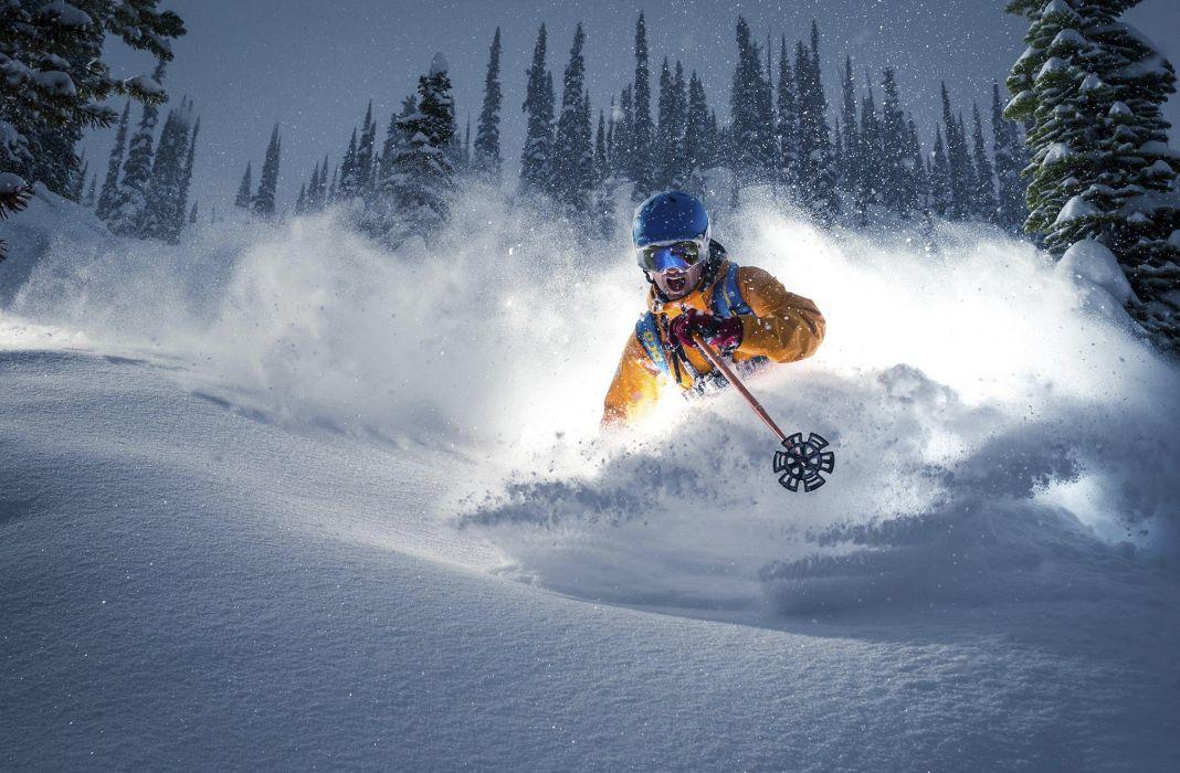 snow speed skier ski winter wallpaper