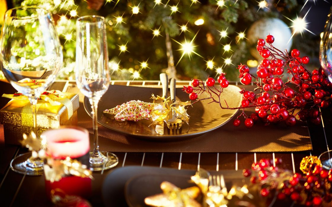 table candles glasses holiday wallpaper
