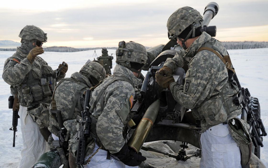 us army alaska 105mm artillerymen military weapon ammunition ammo bomb wallpaper