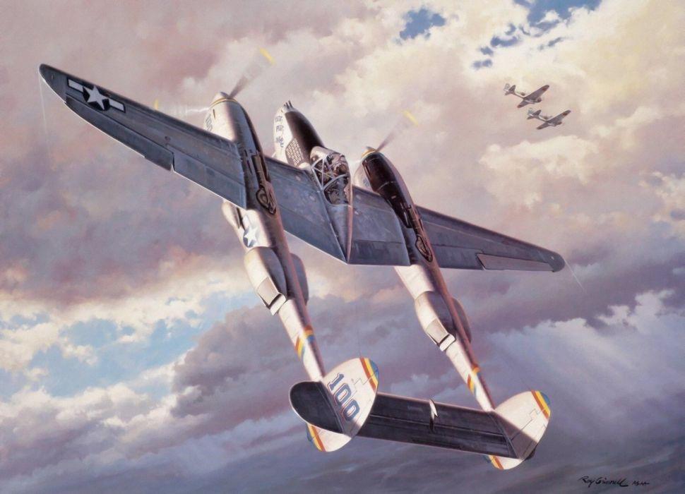 ww2 war art aviation fighter airplane painting p38 lightning wallpaper