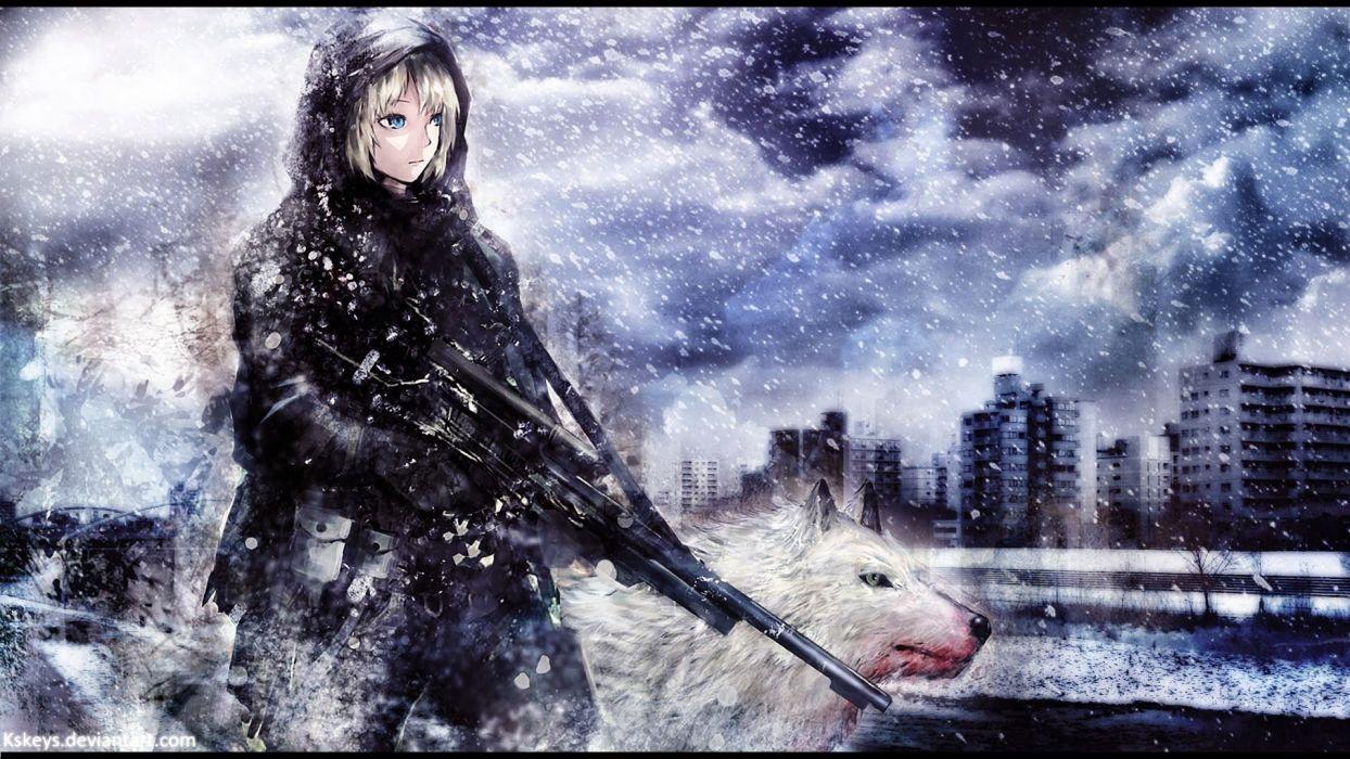 Wallpaper snow wolf guns buildings jacket girl wallpaper
