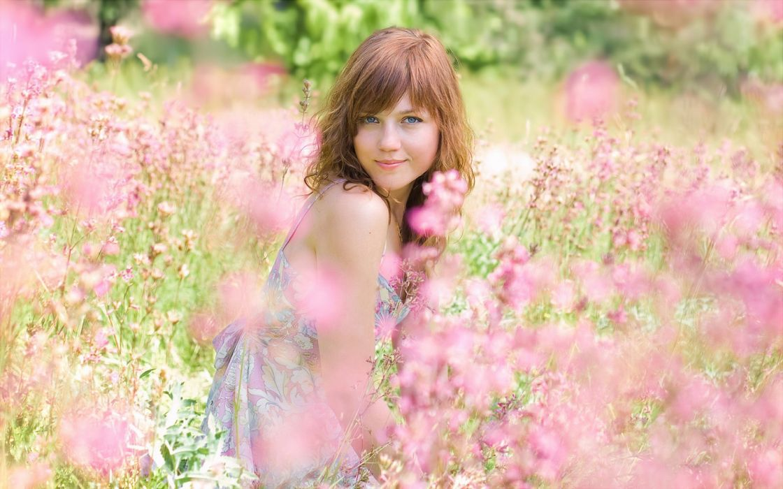 women nature flowers blue eyes redheads fields wallpaper