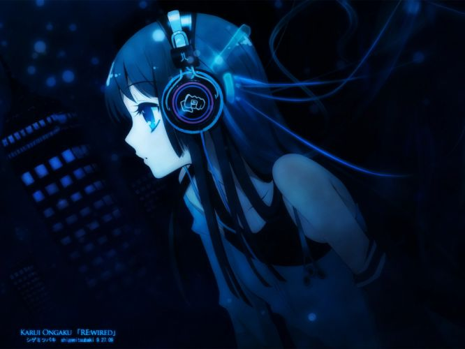 headphones K-ON! Akiyama Mio anime wallpaper