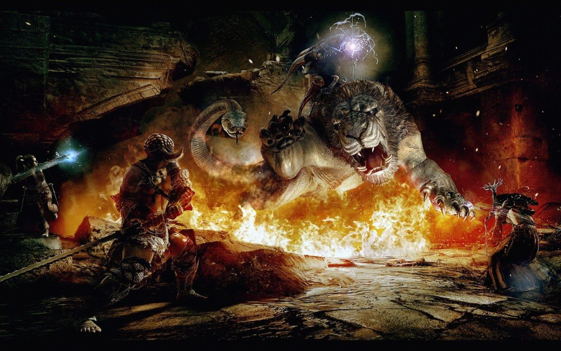 flames video games fire tigers Dragons Dogma wallpaper