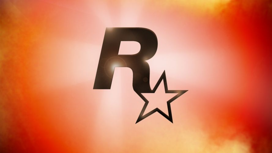 red atmosphere Rockstar Games logos wallpaper