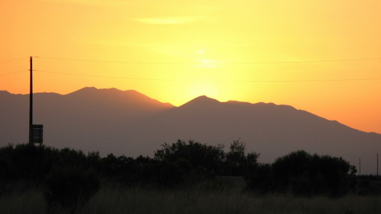 sunset mountains landscapes nature land wallpaper