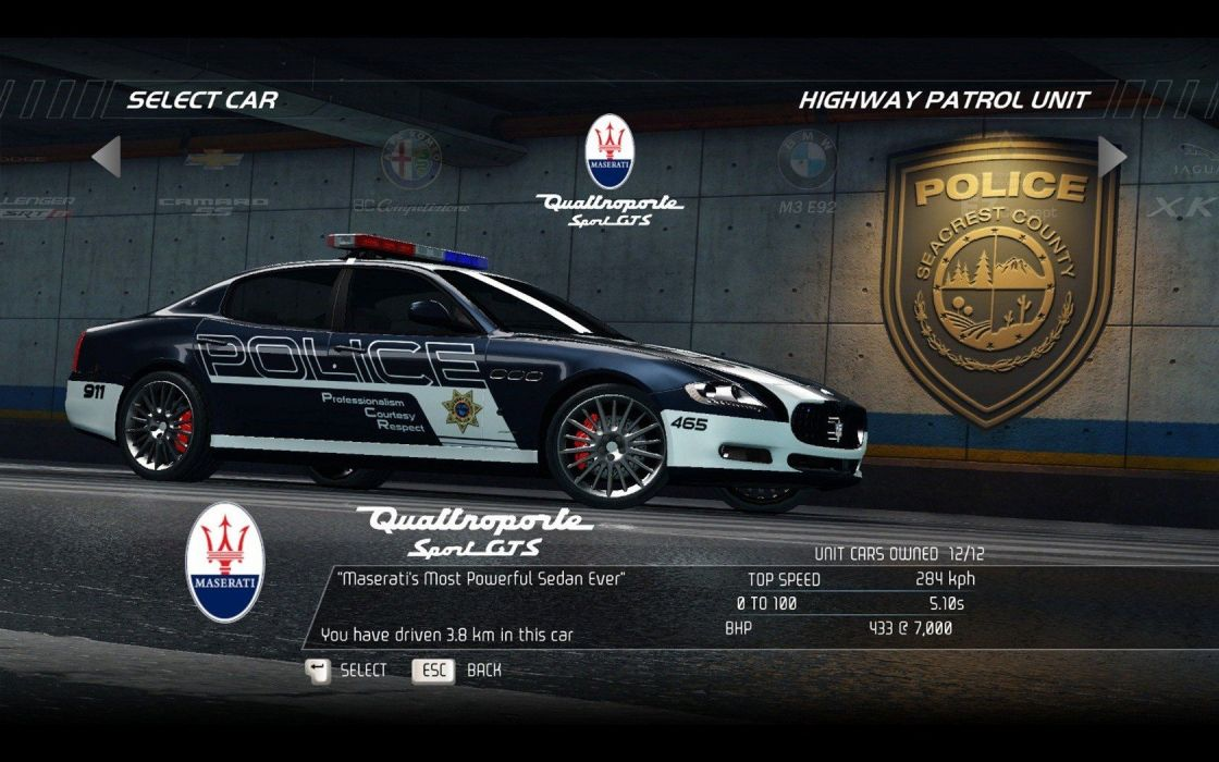 video games cars police vehicles Need for Speed Hot Pursuit Maserati Quattroporte GTS pc games wallpaper