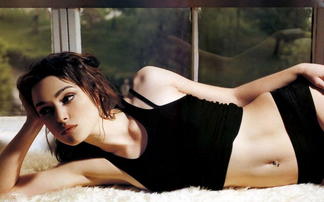 brunettes women Keira Knightley lying down wallpaper