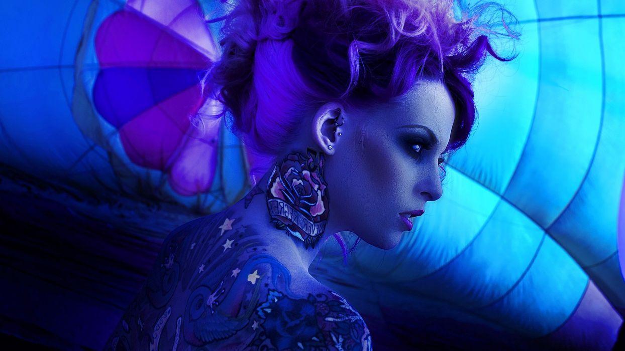 tattoos women purple hair I Must Be Dead make up photograph I Must Be Dead Photography wallpaper