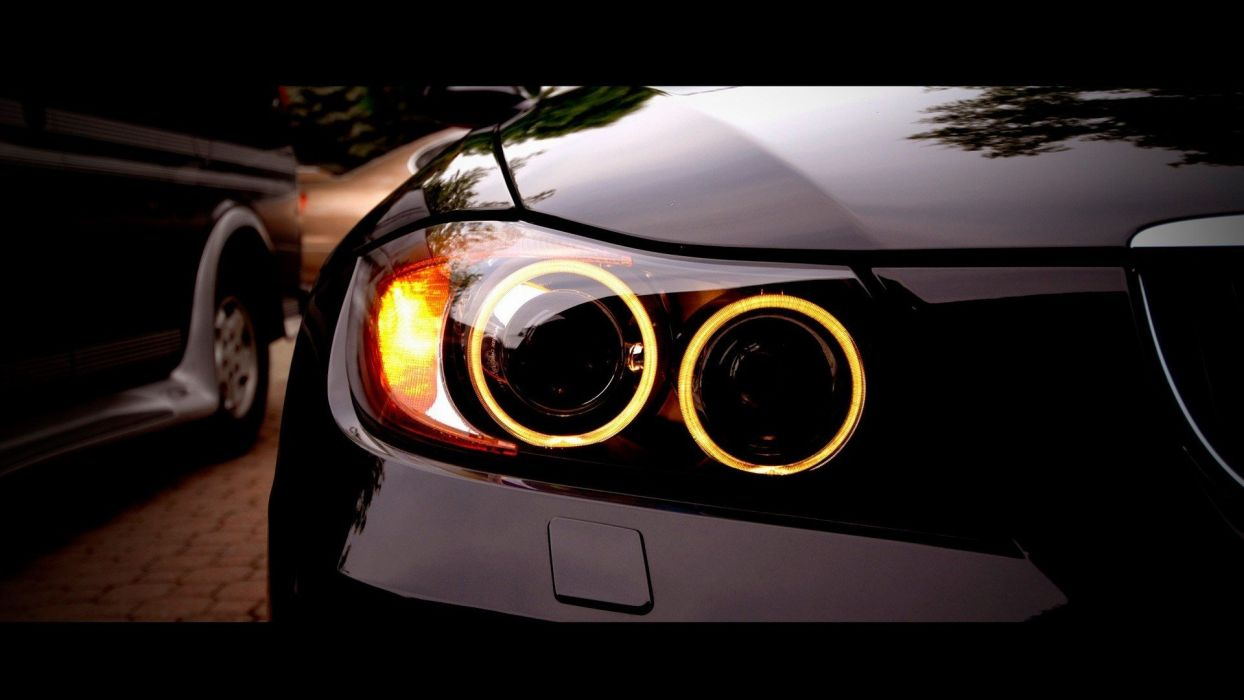 close-up cars BMW M3 BMW 3 Series headlights wallpaper