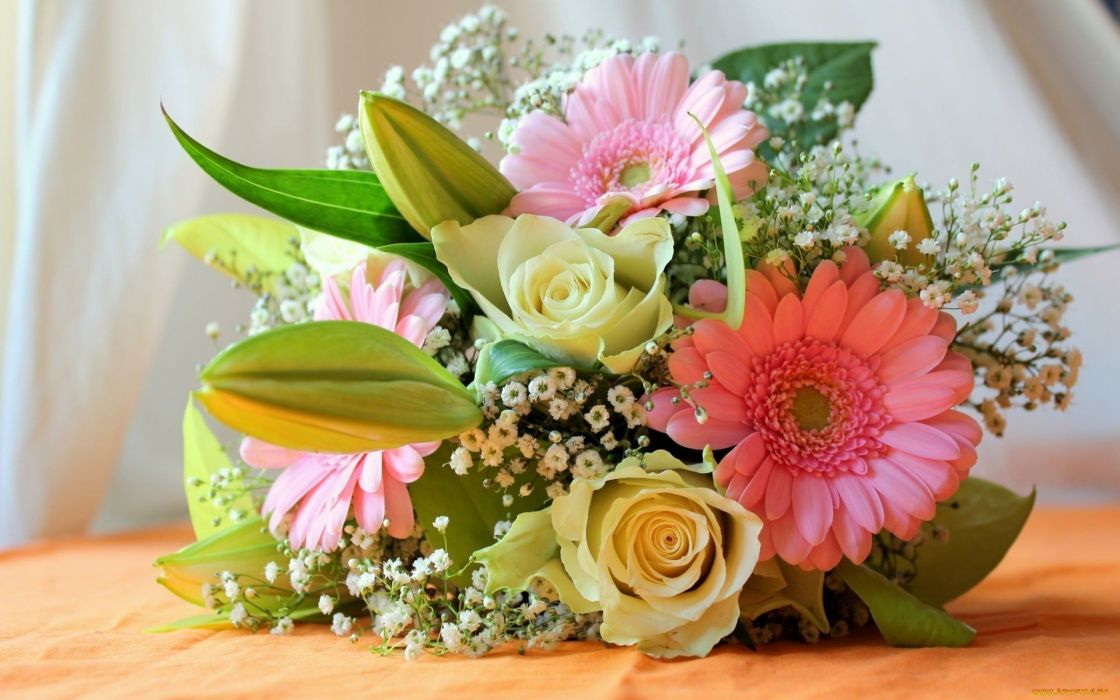 flowers Composition bouquet roses lilies gerbera flower wallpaper